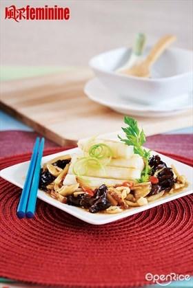 Steamed Huai Shan with Fungus Recipe  云耳金针蒸淮山食谱
